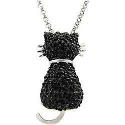 Black Cat Pendant with Diamond Accents Necklace