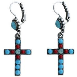 Turquoise and Coral Cross Earrings