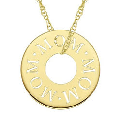 10 Karat Gold Mom Stamped Circle Necklace