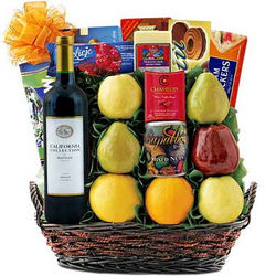 Grand Fruit and Wine Gift Basket