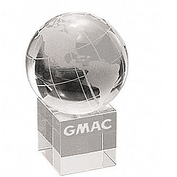 Personalized Large Optical Crystal Globe on Base Paperweight
