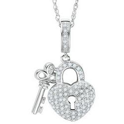 Sterling Silver Round Diamond Lock & Key Necklace