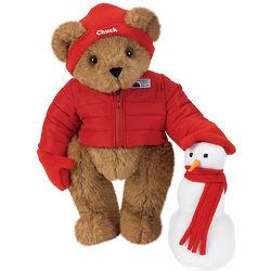 """15"""" Snow Day Teddy Bear with Snowman"""
