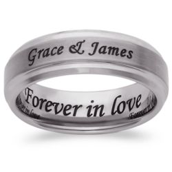 Men's Tungsten Polished and Satin Outside/Inside Engraved Ring