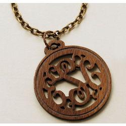 Monogrammed Wood Pendant