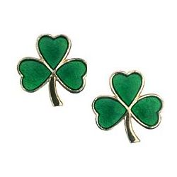 14k Yellow Gold Green Enamel Shamrock Stud Earrings