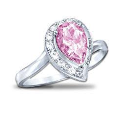 Pink Topaz Women's Journey Ring: Love Always