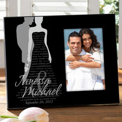 Personalized Bride & Groom Silhouette Picture Frame