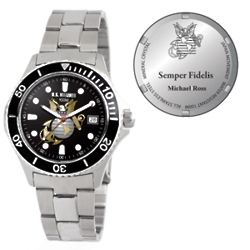 Personalized Men's Marine Corps Stainless Steel Watch