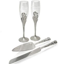 Bride and Groom Champagne Flute and Cake Server Set