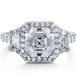 Asscher Cut Cubic Zirconia Sterling Silver Halo Ring