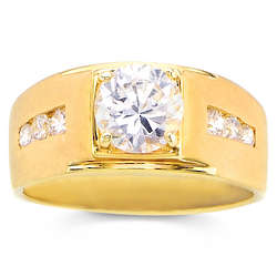 Men's Gold Over Sterling Silver CZ Echelon Ring