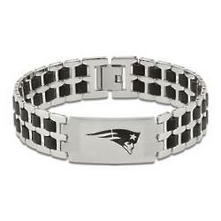 Men's New England Patriots Stainless Steel and Rubber Bracelet