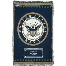 Personalized Navy Military Emblem Afghan