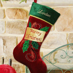 Red Velvet Merry Christmas Embroidered Stocking