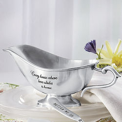 Classic Pewter Gravy Boat with Inscription