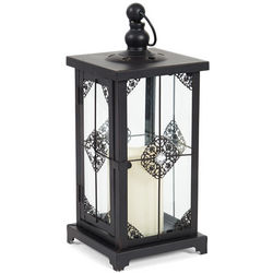 Metal Lantern with Gem and LED Candle