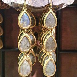 Gemstone Wrap Triple Drop Earrings