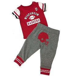 Newborn's Wisconsin Badgers MVP Creeper and Fleece Pants