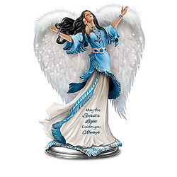 Winged Maiden Illuminated Sculpture with Fiber Optic Lights