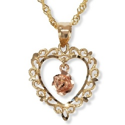 14k Open Heart Pendant with Floating Rose Gold Flower