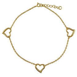 14K Gold Vermeil Tri Heart Anklet Chain