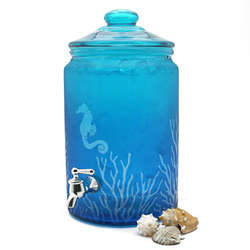 Coastal Blue Glass Beverage Dispenser