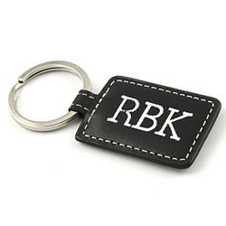 Personalized Rectangle Leather Keychain