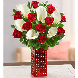 Red Rose and Calla Bouquet with Red Hobnail Vase