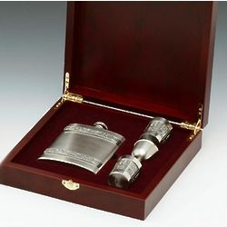 Irish Pewter Hip Flask and Shot Glasses Set