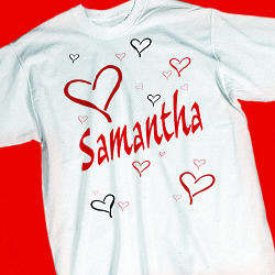 Personalized Red Hearts Youth T-Shirt