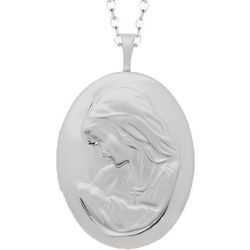 Sterling Silver Oval Mom Locket Necklace
