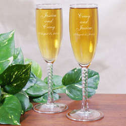 Personalized Twisted Stem Wedding Toasting Flutes