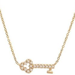 14 Karat Gold and Diamond Key Necklace