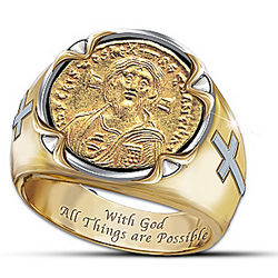 Men's Face of Faith Christ Coin Ring