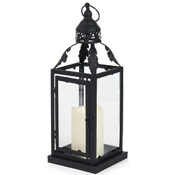 Metal Lantern with Leafy Top and LED Candle