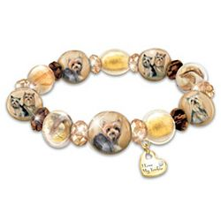 Reflections of Love Yorkie Porcelain and Glass Bracelet