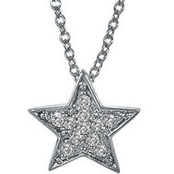Sterling Silver CZ Accent Small Star Pendant and Necklace