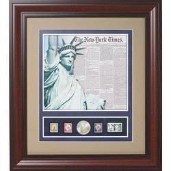 Statue of Liberty with 1886 Coin and Stamps Keepsake