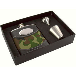 Personalized 6 oz. Green Camouflage Flask Gift Set