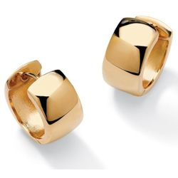 18K Gold Over Sterling Silver Huggie-Hoop Pierced Earrings