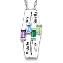 Sterling Silver Sisters Name and Birthstone Necklace