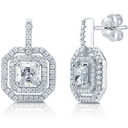 Princess Cut Cubic Zirconia Sterling Silver Double Halo Earrings