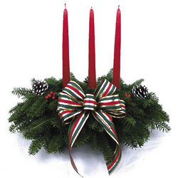 Striped Bow Fresh Christmas Centerpiece