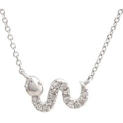 Sideways Diamond Snake 14 Karat White Gold Necklace