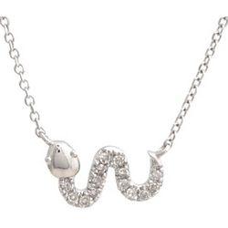 Sideways Diamond Snake 14 Karat White Gold Necklace