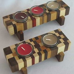 Mosaic Wood Design Tea Light Holder