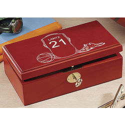Basketball Personalized Wooden Keepsake Box