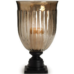 Bombay Taupe Luster Fluted Hurricane Candle Holder On Stand