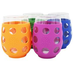 Large Stemless Wine Glasses with Silicone Sleeves